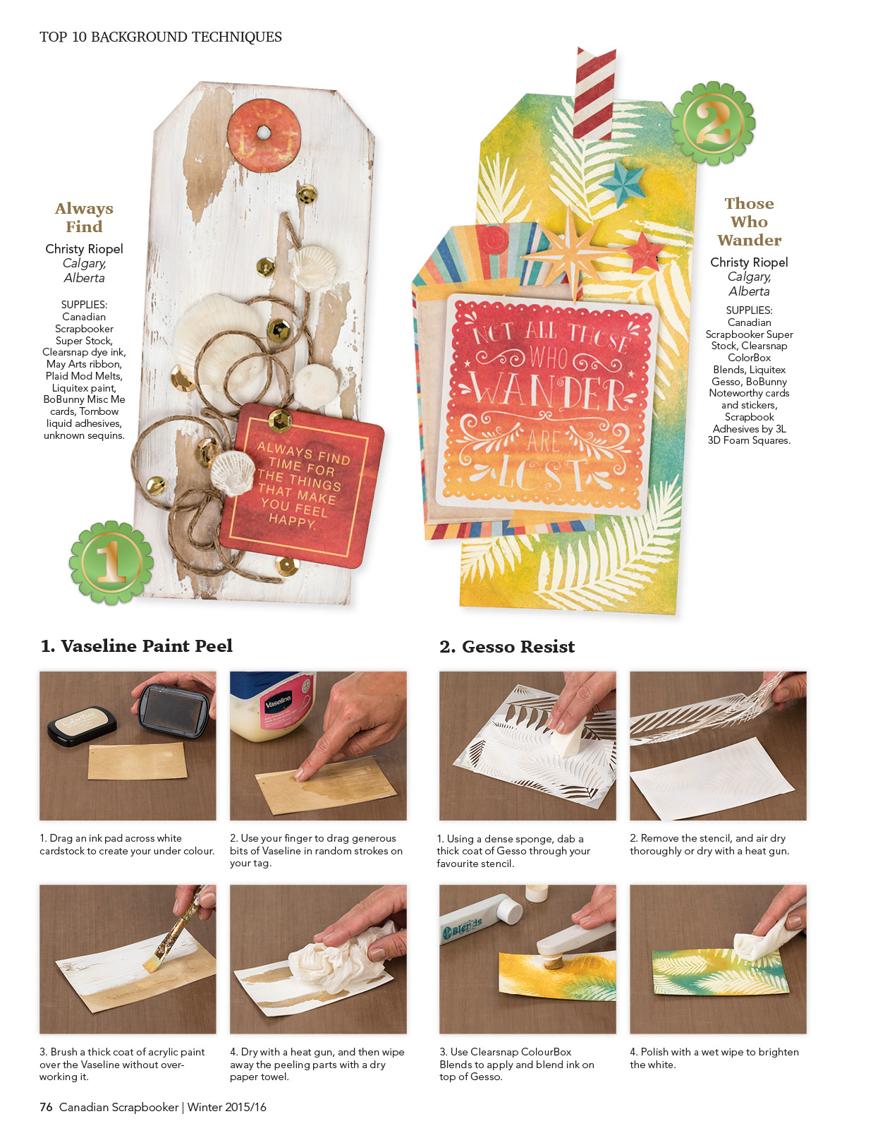 Tags designed using a variety of background techniques by Christy Riopel | Creative Scrapbooker Magazine