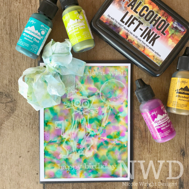 Scrapbook Card featuring Alcohol Lift-Ink by Ranger Tim Holtz | Nicole Wright | Creative Scrapbooker Magazine