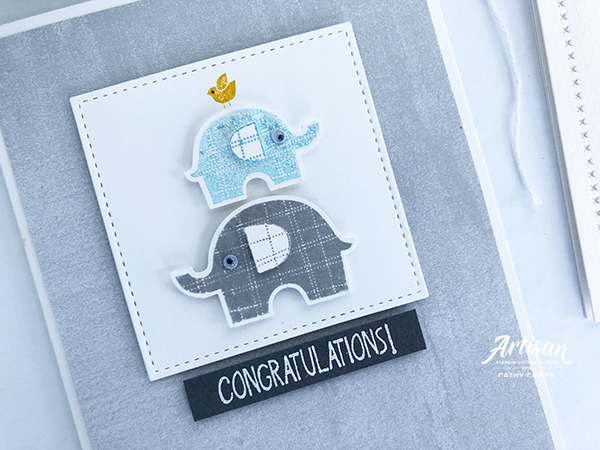 Card designed by Cathy Caines featuring the Stampin' Up! Little Elephant and punch set | Creative Scrapbooker Magazine