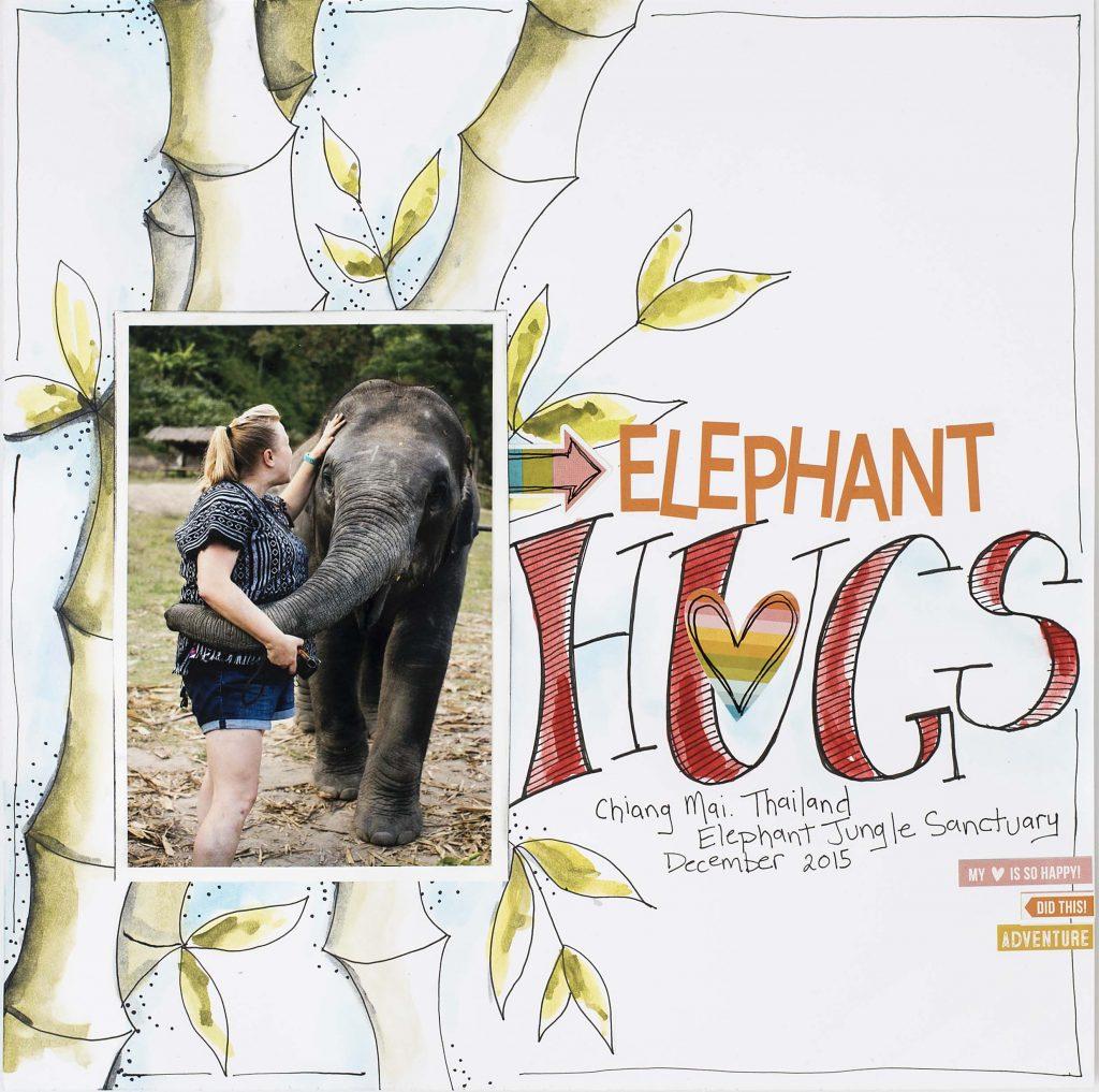 Elephant Hugs layout designed by Christy Riopel | Creative Scrapbooker Magazine