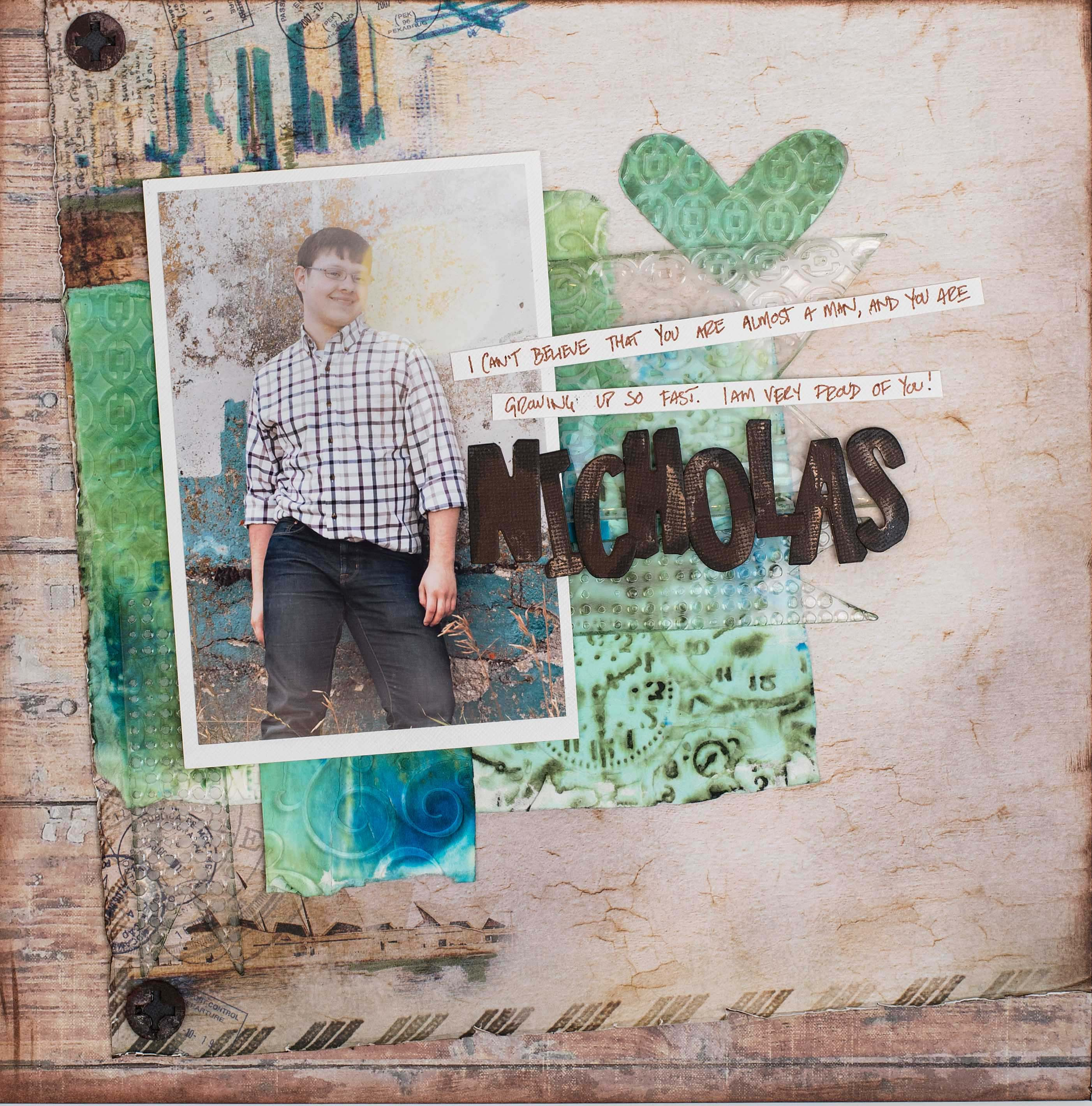 Using embossing folders on a scrapbook layout designed by Christy Riopel | Creative Scrapbooker Magazine
