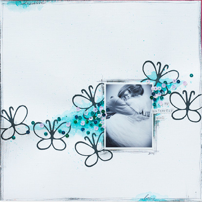 Butterfly Girl Layout designed by Christy Riopel | Creative Scrapbooker Magazine
