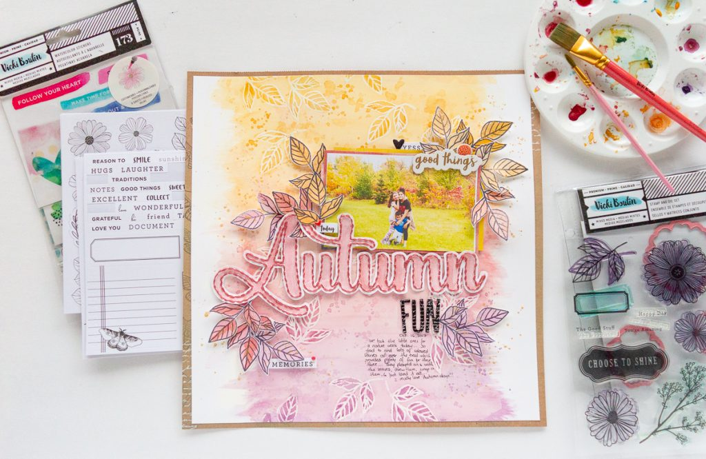 Autumn Fun Layout Designed by Nathalie DeSousa featuring Vicki Boutin for American Crafts products | Creative Scrapbooker Magazine