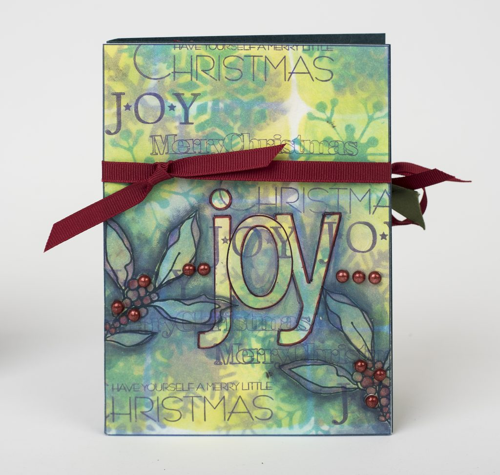 Joy Christmas Card designed by Cathie Allan featuring Clearsnap ColorBox | Cretive Scrapbooker Magazine