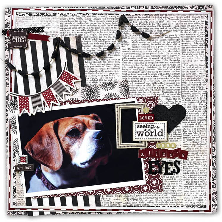 Glue Dot Glitter Banner on a scrapbook layout designed by Christy Riopel | Creative Scrapbooker Magazine