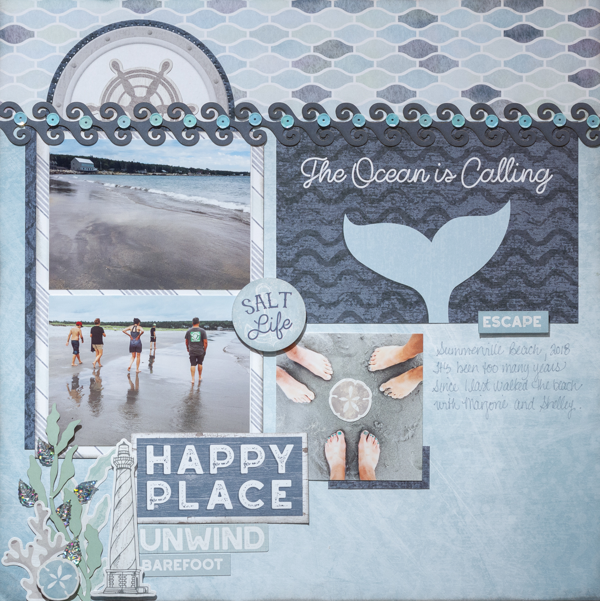 Scrapbooking summer photos with Creative Memories' Maritime Collection / Perfect paper for beach stories / The Ocean is Calling
