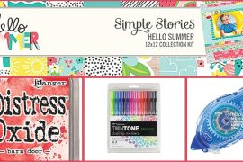 Scrapbooking photos with Simple Stories Hello Summer Collection / Summer photos / Tombow markers and adhesive / Ranger Distress Oxide inks