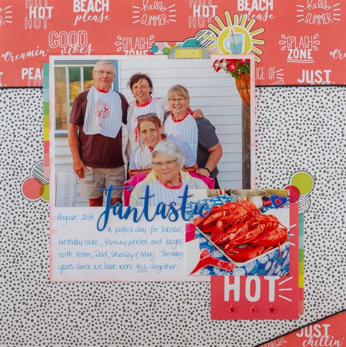 Scrapbooking family photos with Simple Stories' Hello Summer Collection / using Tombow TWIINTONE markers on your scrapbooking layouts / Ranger Distress Oxide Ink