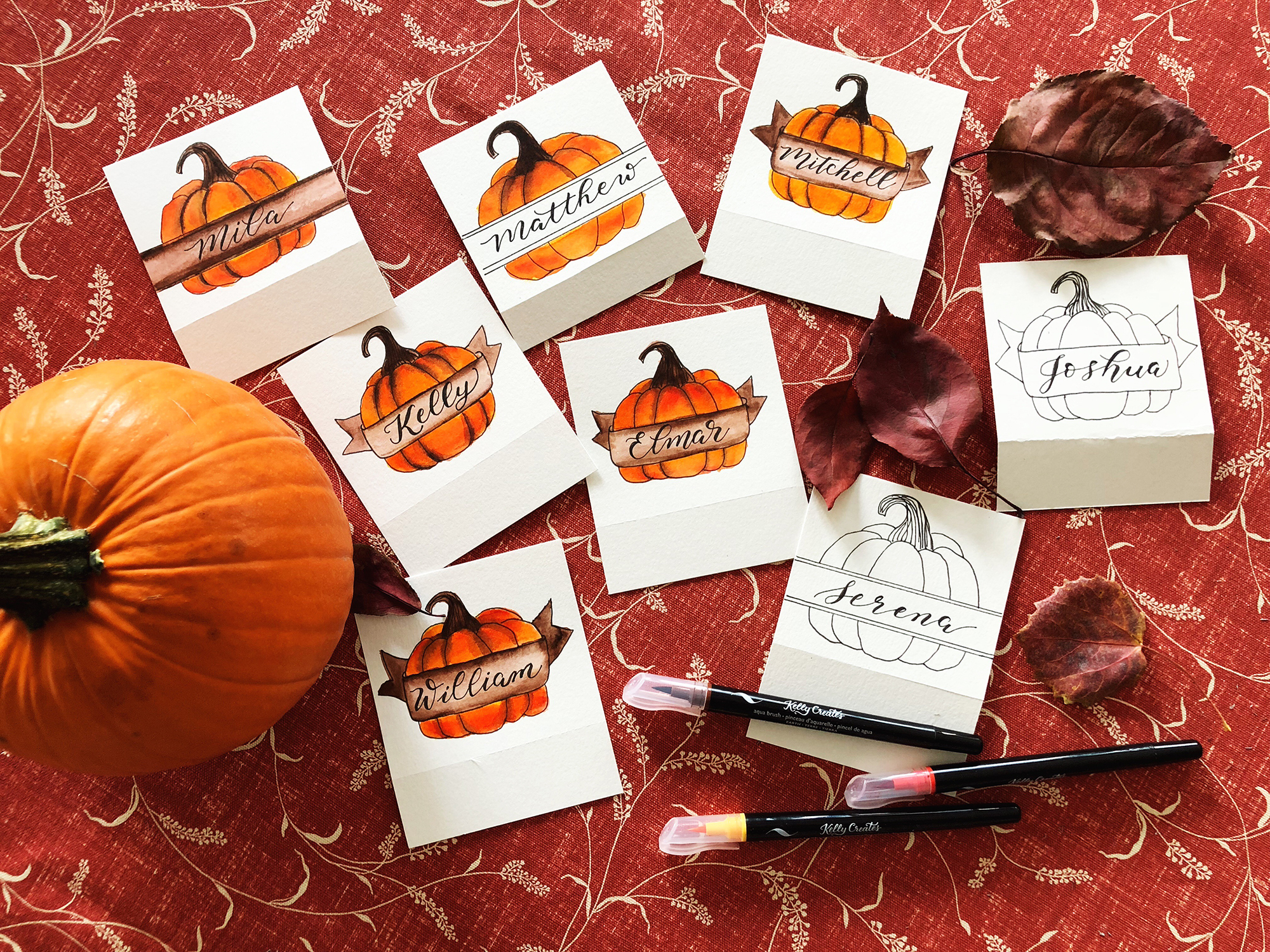 Calligraphy Crafts - Thanksgiving Cards - Kelly Creates | Creative Scrapbooker Magazine