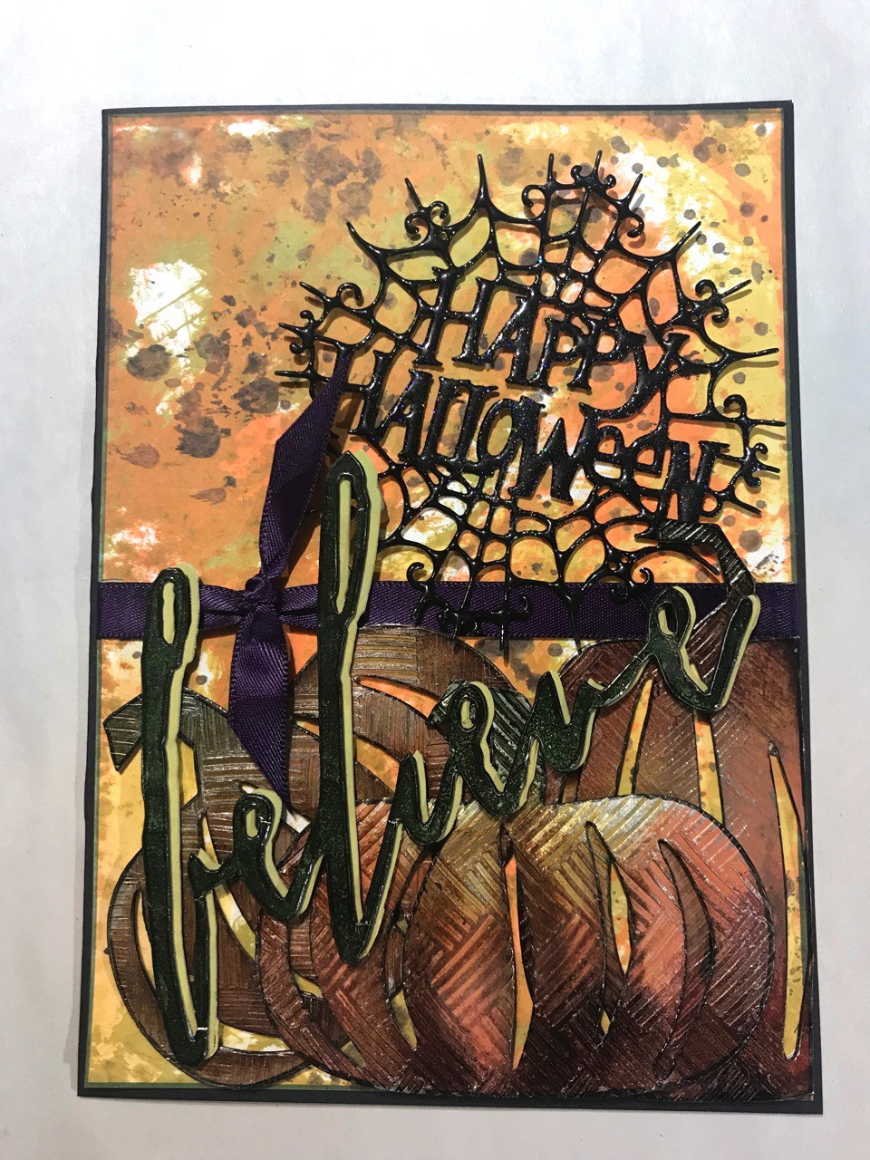 Happy Halloween card designed by Cathie Allan featuring Impression Obsession and Clearsnap ColorBox | Creative Scrapbooker Magazine
