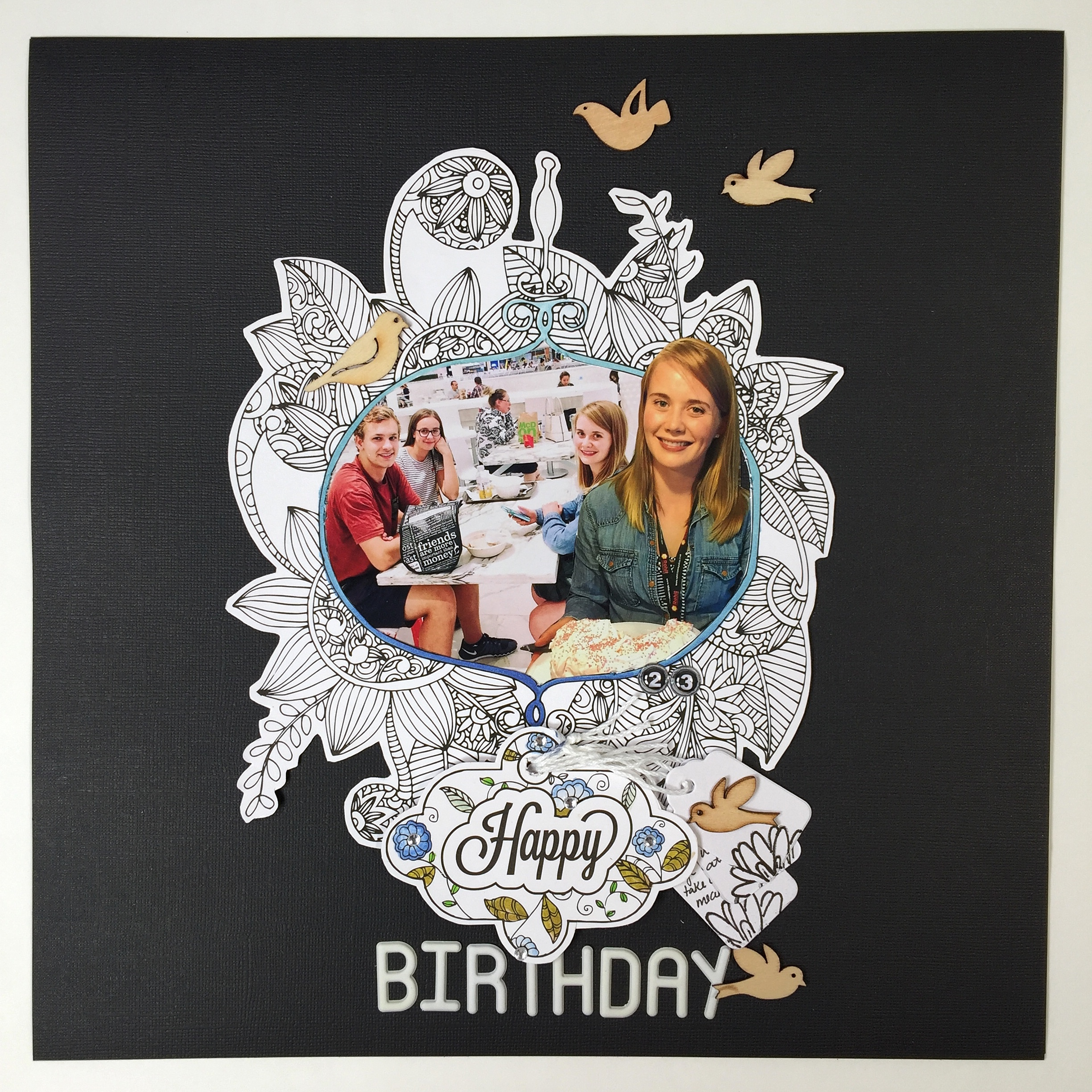 Happy Birthday Layout Designed by Kerry Engel featuring MultiCraft and Chameleon Pens | Creative Scrapbooker Magazine
