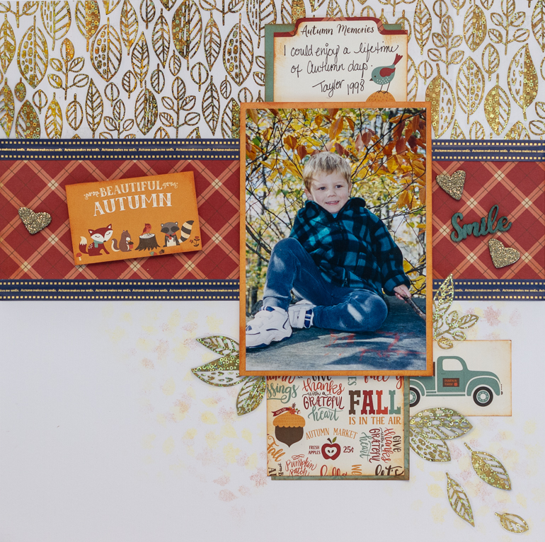 Scrapbooking with sketches / Echo Park Celebrate Autumn / therm-o-web foil fun / Custoomize your ribbon with Brother P-touch CUBE