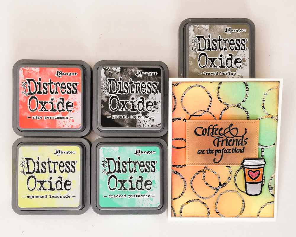 Cardmaking - Distress Oxide Inks resist / All Occasion Coffee Card