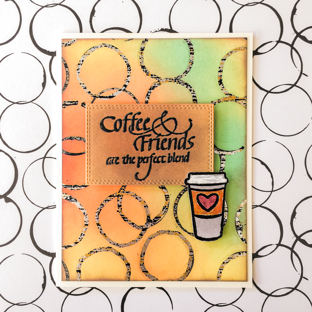 All Occasion Coffee Card / Therm-o-Web Deco Foils and Toner Sheets / Ranger Distress Oxides / Quietfire Design Stamps