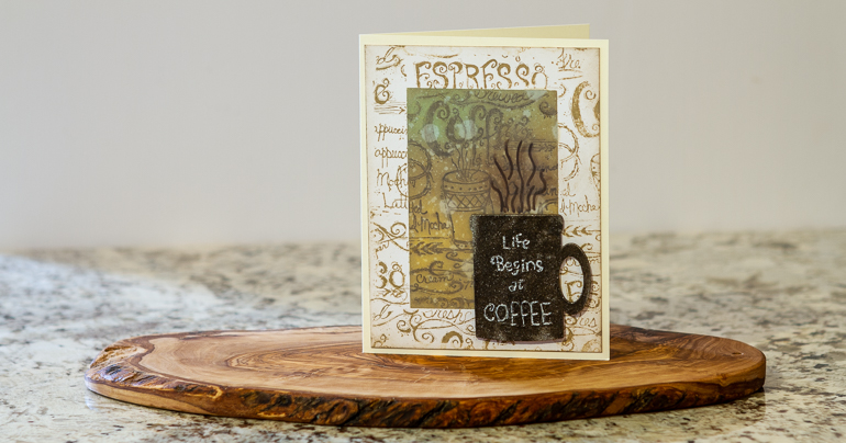 Life Starts ai Coffee / cardmaking / Distress Oxide Inks / scented embossing powders