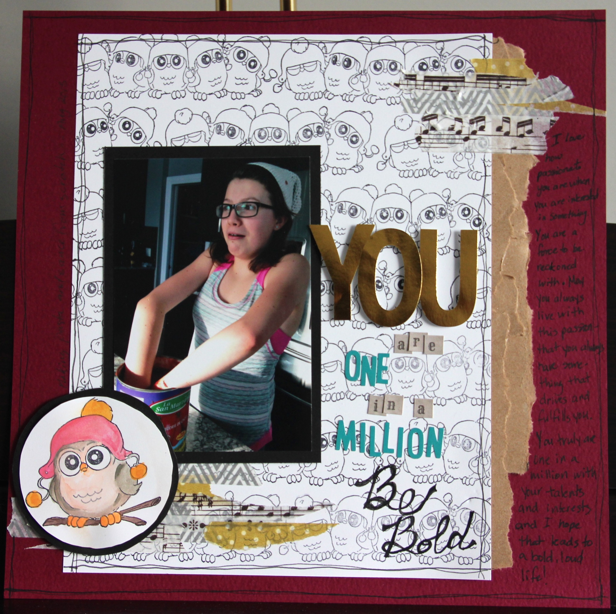 Scrapbook Layout featuring Whoot Stamp set by Art Impressions | Designed by Jayme Loge | Creative Scrapbooker Magazine