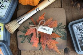 Autumn Place Card Holders featuring Ranger and Stampers Anonymous designed by Nicole Wright | Creative Scrapbooker Magazine