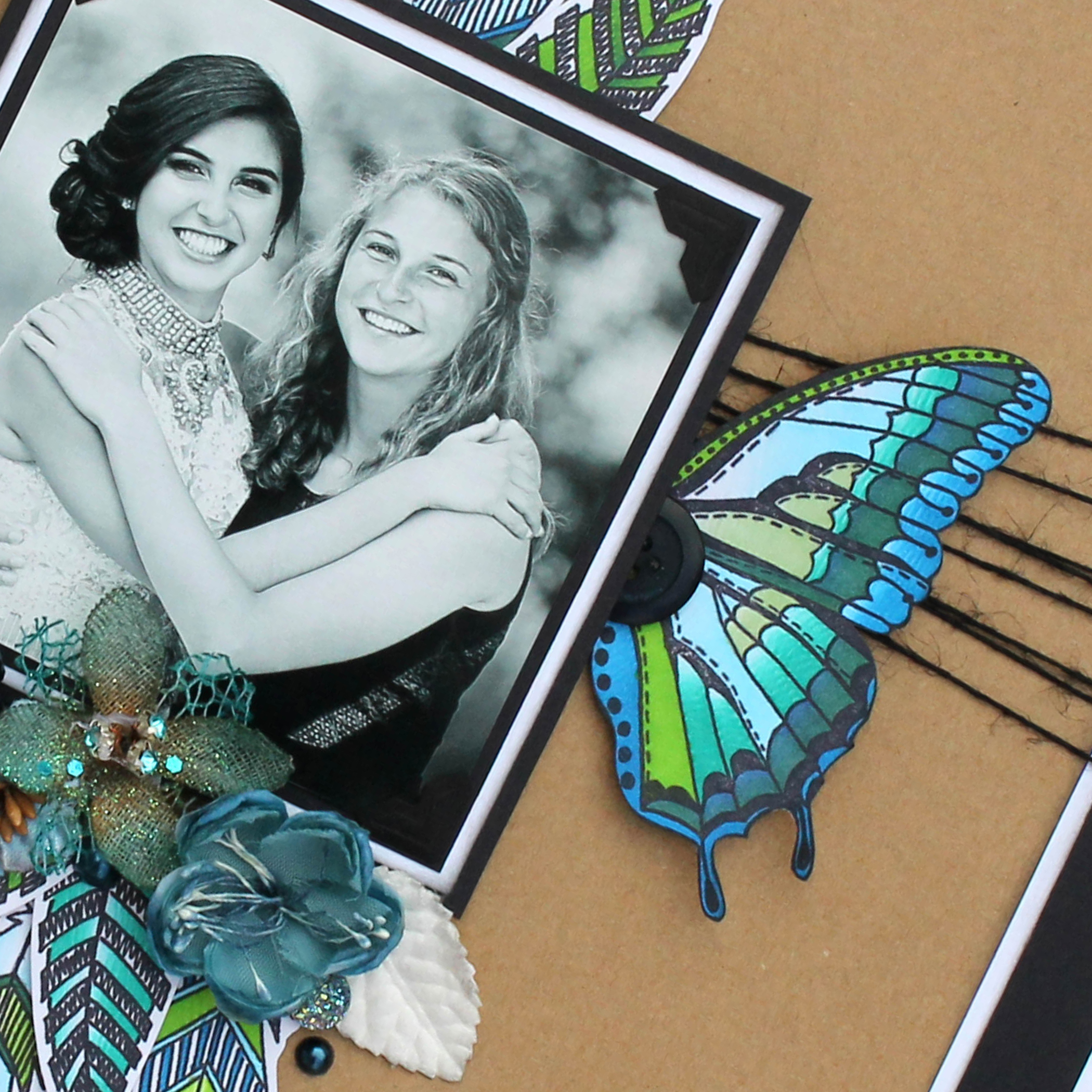 Scrapbook Layout designed by Tracy McLennon featuring Ranger Dylusions Flight of Fancy stamps and Chameleon Color Tone Pens   Creative Scrapbooker Magazine