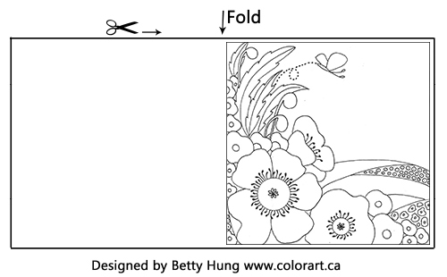 Free November Coloring Card illustrated by Betty Hung| Creative Scrapbooker Magazine