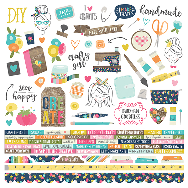 Tracy put together her layout using the Simple Stories Crafty Girl collection