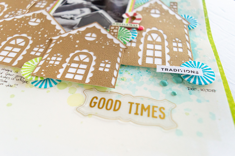 Scrapbook Layout designed by Nathalie DeSousa featuring Vicki Boutin for American Crafts | Creative Scrapbooker Magazine