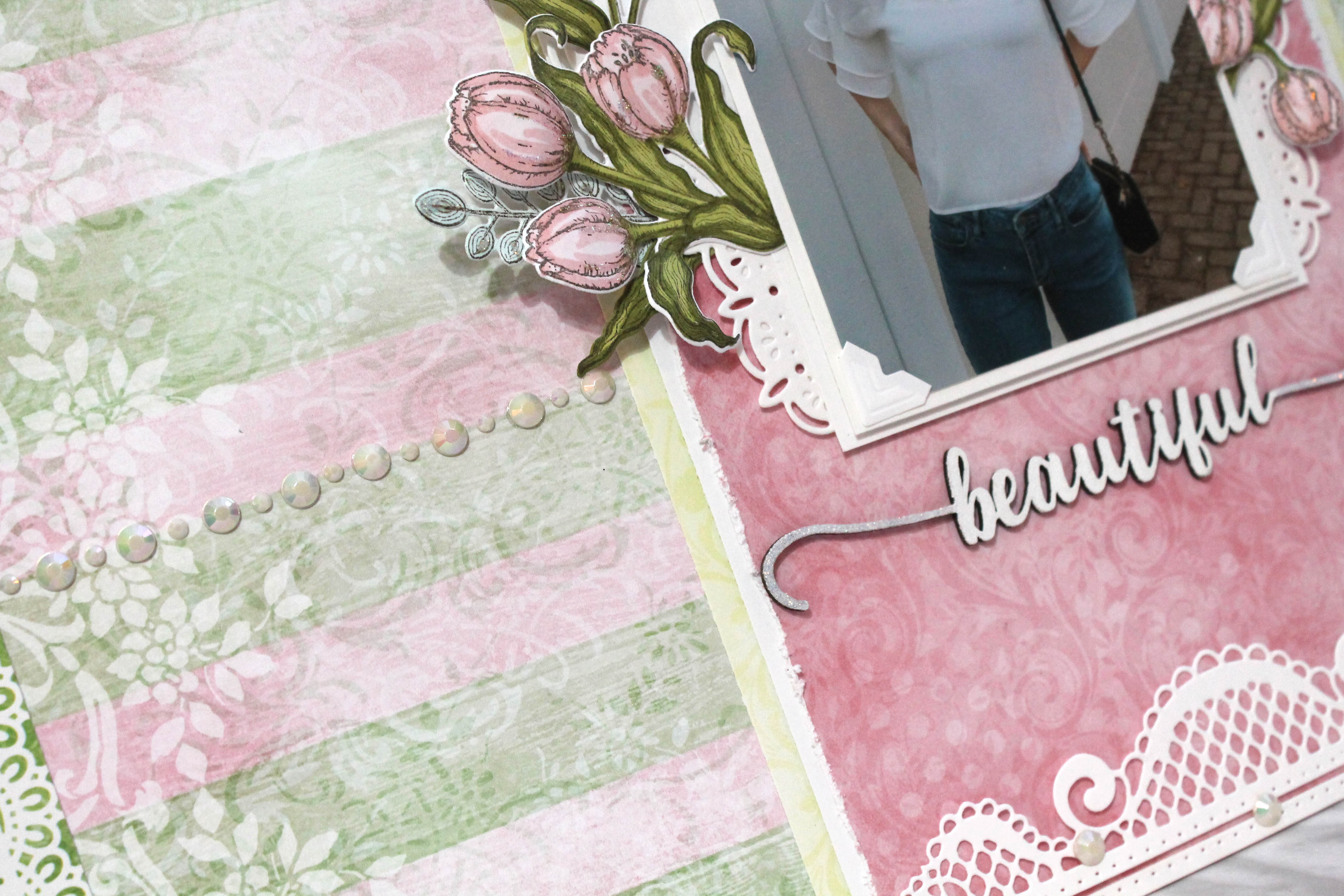 Tulip Time Collection by Heartfelt Creations - Layout designed by Tracy McLennon   Creative Scrapbooker Magazine