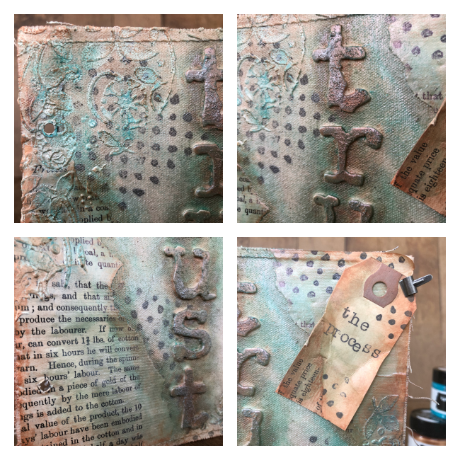 Mixed Media Canvas featuring Finnibair by Prima Marketing designed by Nicole Wright | Creative Scrapbooker Magazine