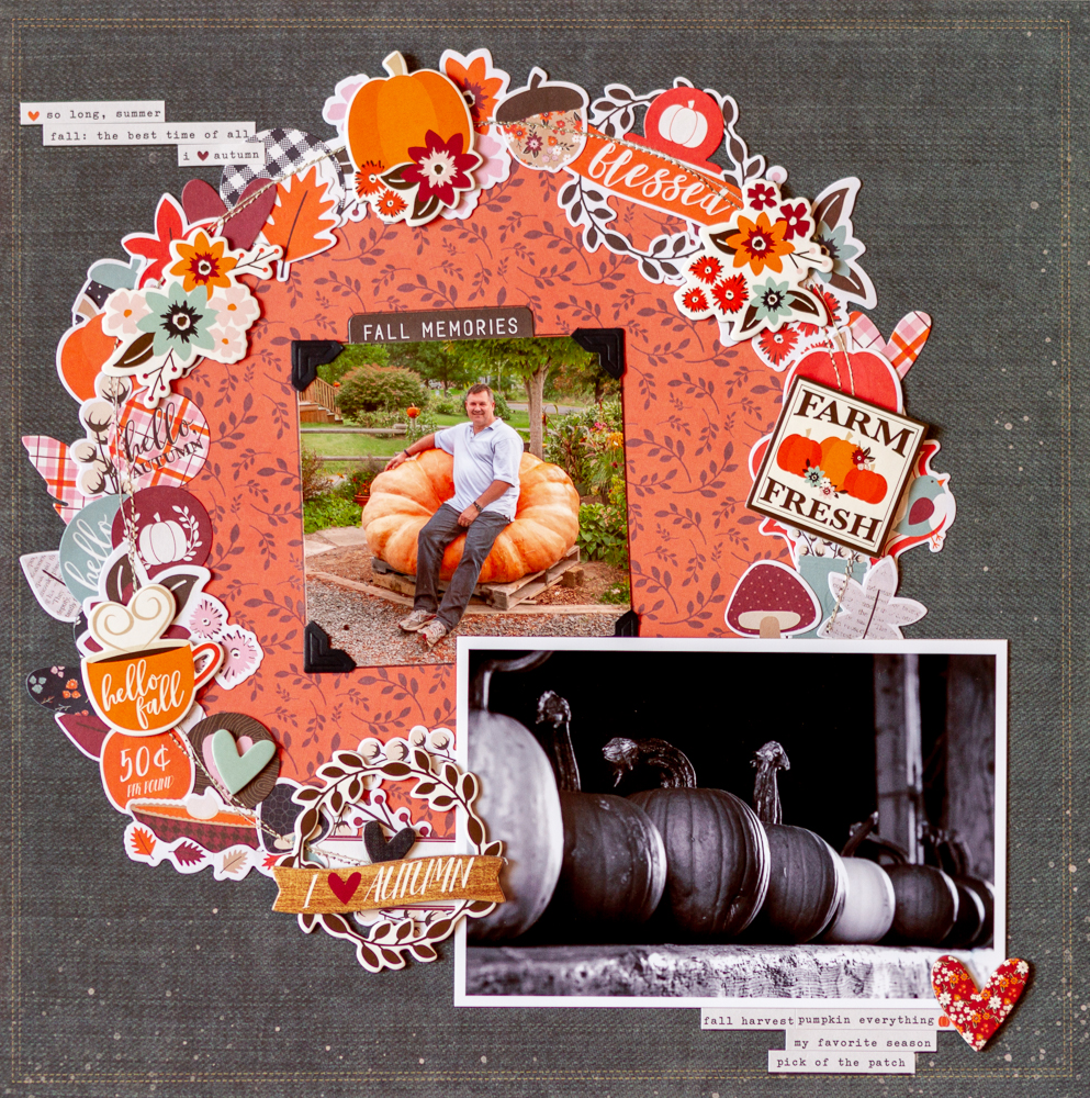 Autumn layout using Simple Stories' Forever Fall collection / Creative Scrapbooker Magazine's December sketchy challenge / sketch / scr