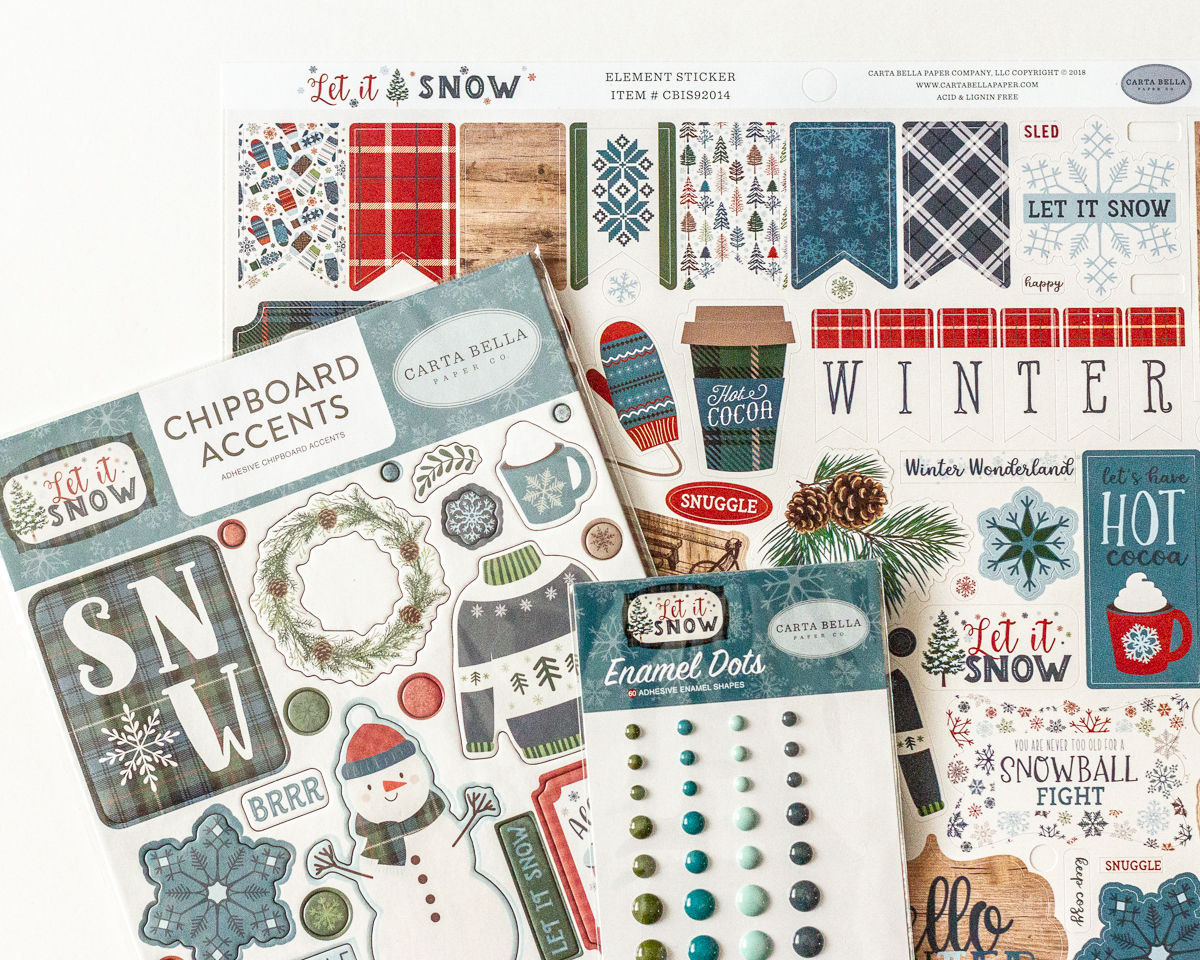 Carta Bella's Let it Snow collection / papers/ stickers/chipboard/enamel dots