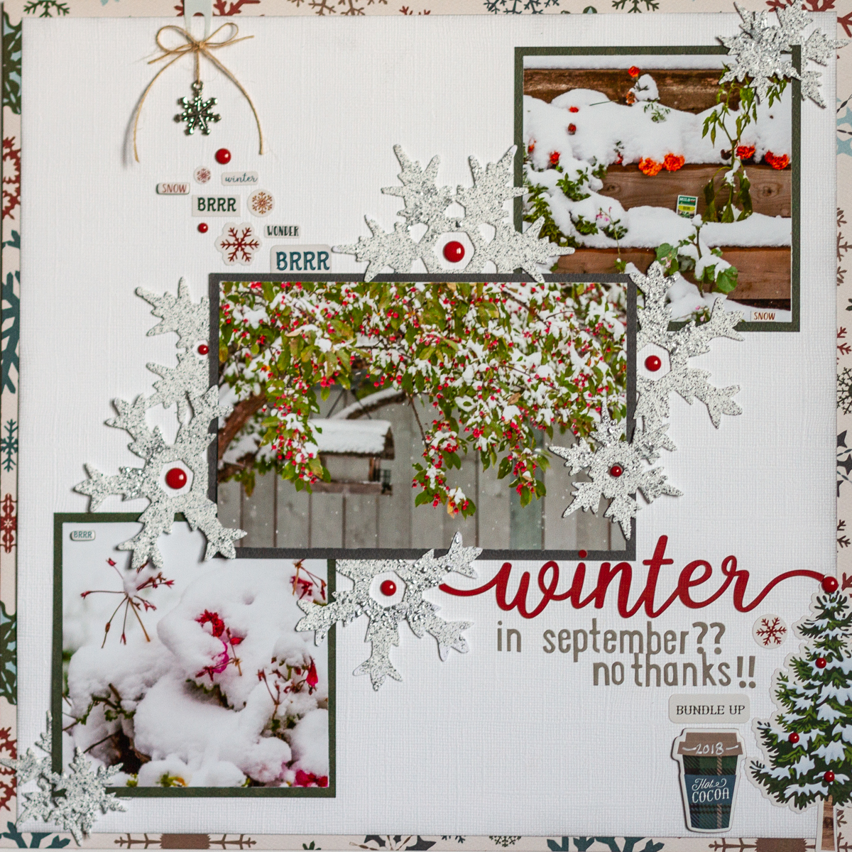 Carta Bella's Let it Snow collection / Emerald Creek Baked Texture for snowflakes / January 2019 Sketchy Challenge / CSM Design Team - Kim Gowdy