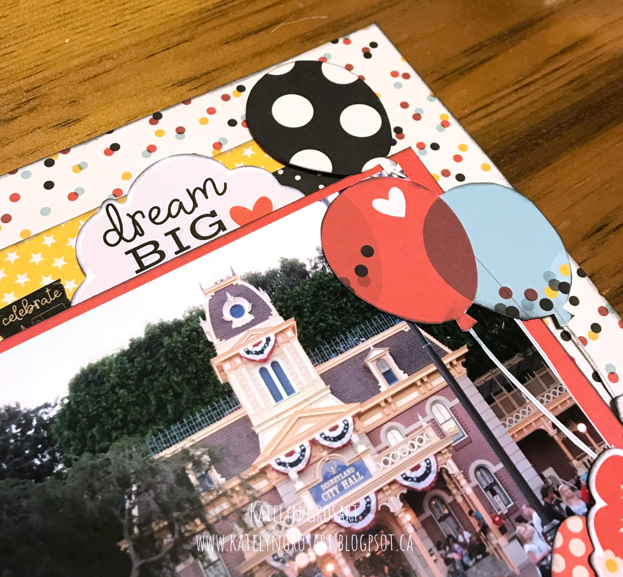 Details of Disney Themed Scrapbook Layout featuring Simple Stories designed by Katelyn Grosart