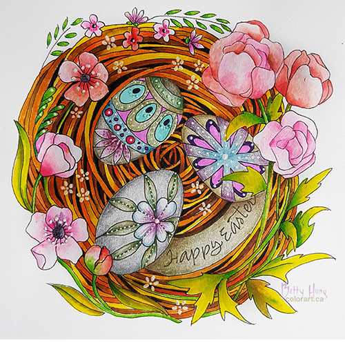 Easter Coloring Card Featuring Kelly Creates designed by Betty Hung