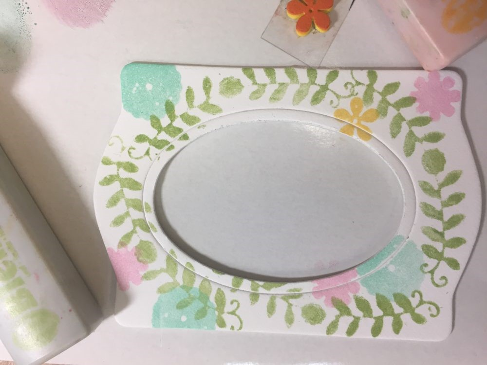 Sizzix Frame Die decorated with Clearsnap ColorBox Blends