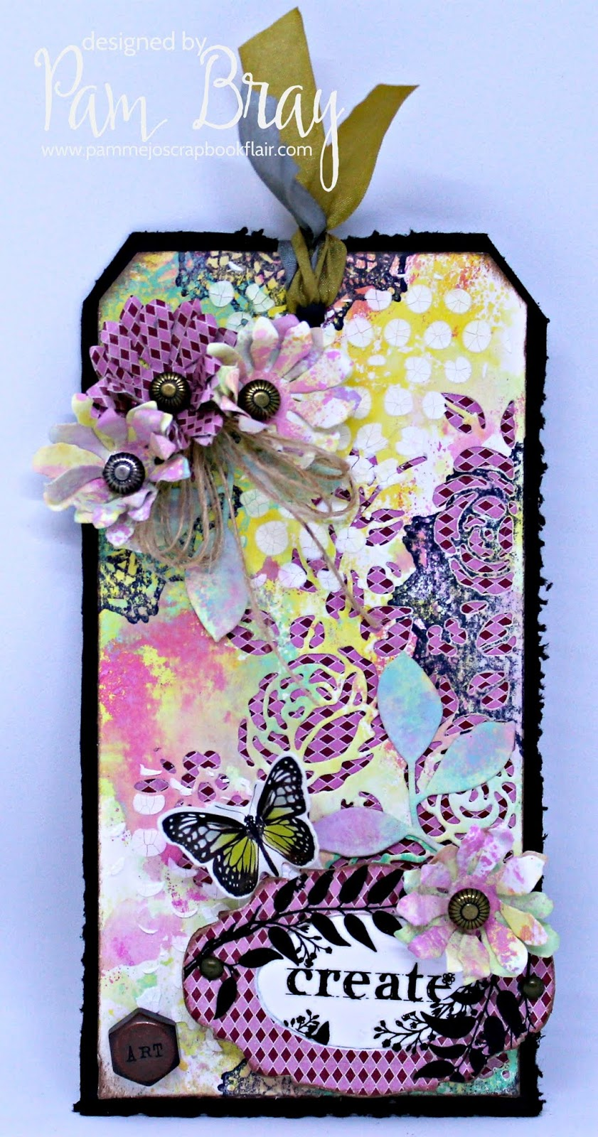 Mixed Media Tag designed by Pam Bray featuring Ranger | Creative Scrapbooker Magazine