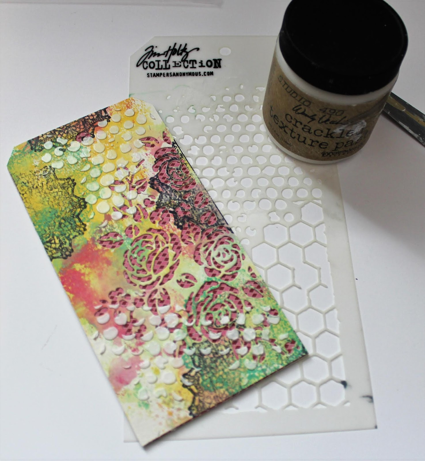 Designing a mixed media tag using Ranger Texture Paste and Stampers Anonymous Stencil