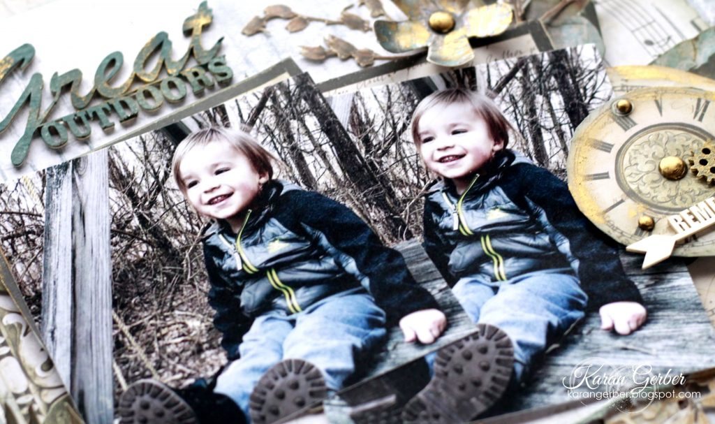 Close up images of small boy on a scrapbook layout designed by Karan Gerber
