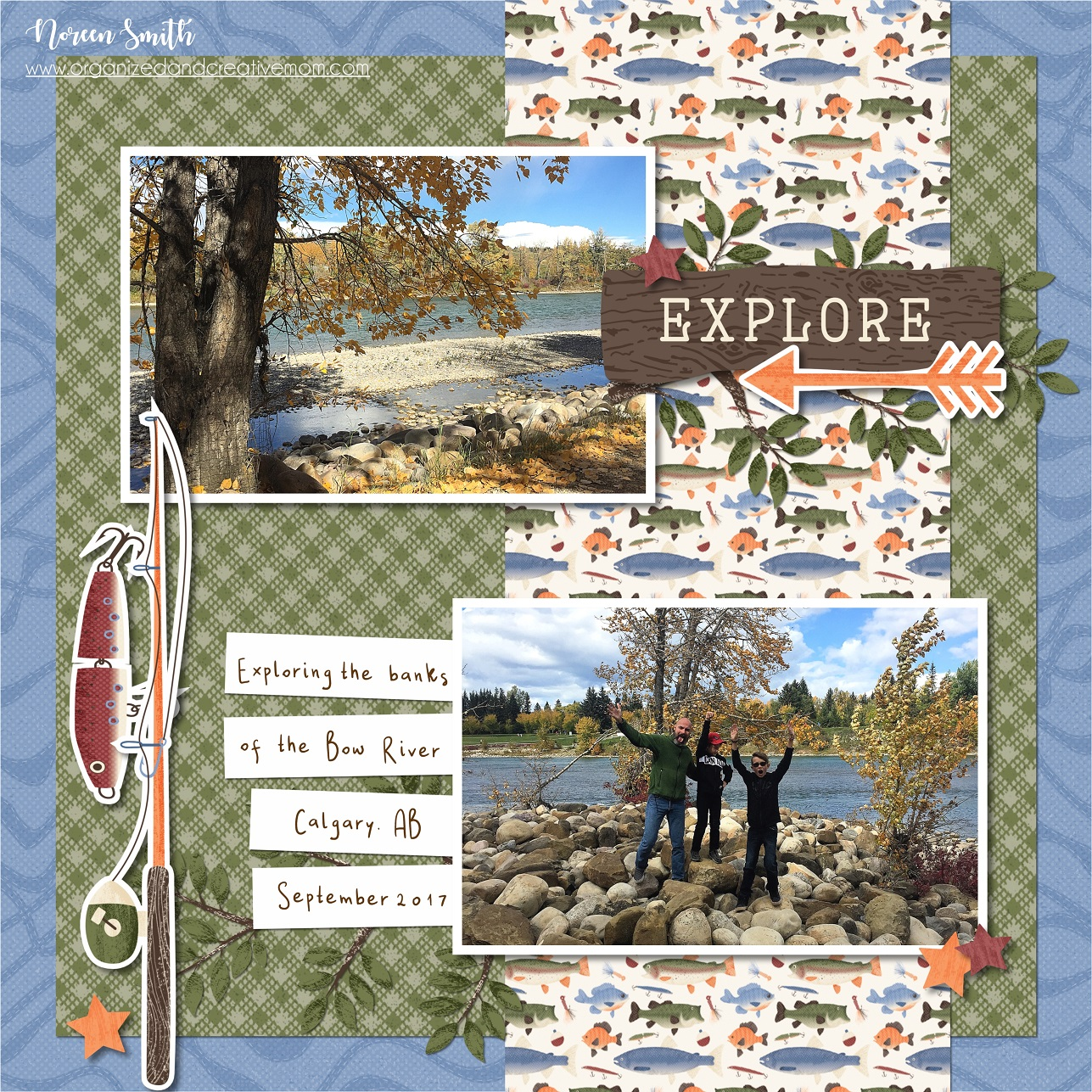Digital Fish Themed Scrapbook Layout featuring the Explorer Collection by Creative Memories