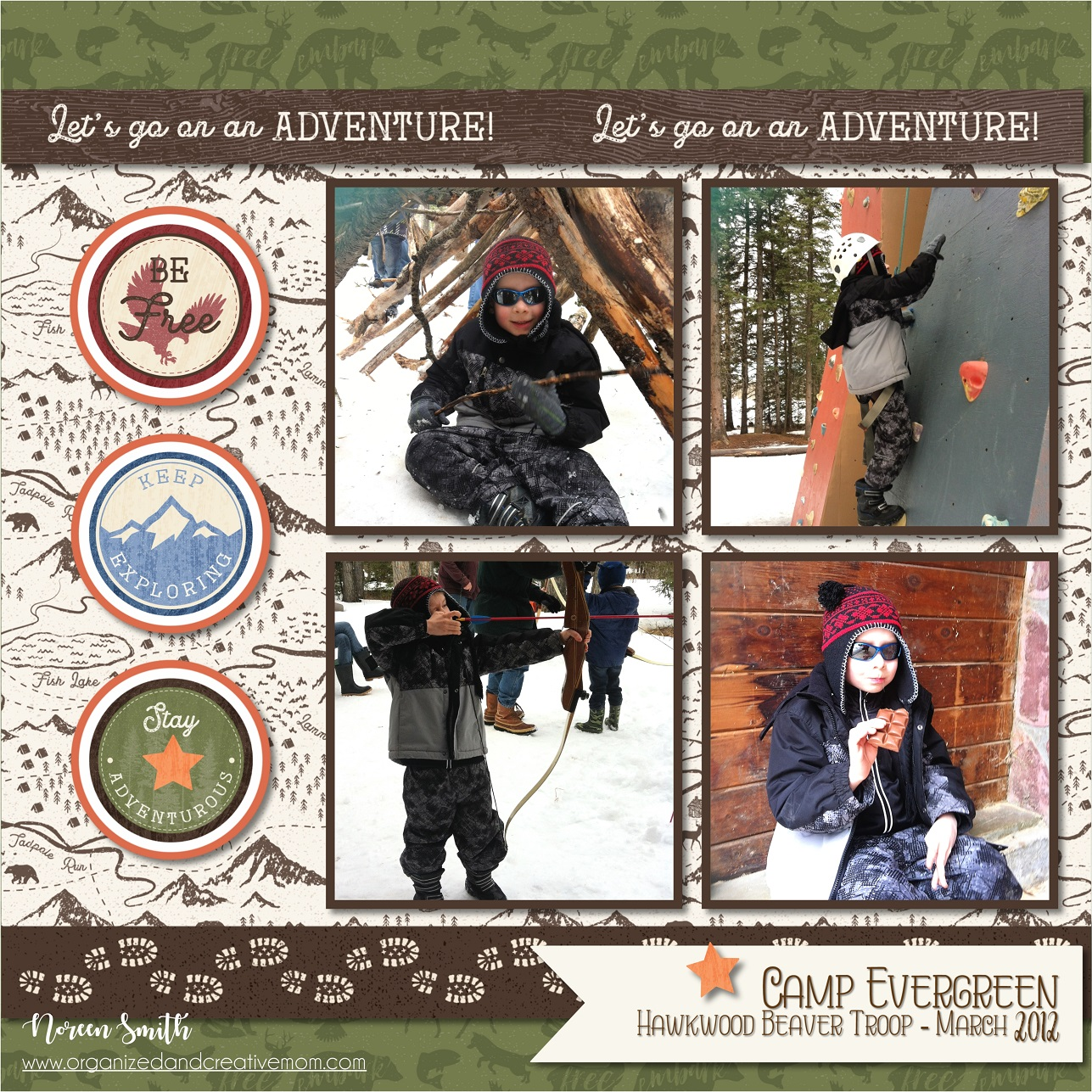 Digital Scrapbook Layout featuring the Explorer Collection by Creative Memories | Creative Scrapbooker Magazine
