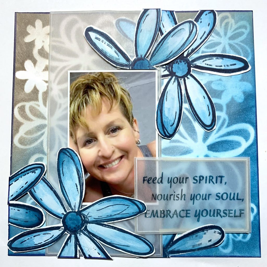 Scrapbook Layout featuring Dare 2B Artzy Stamps designed by Cathie Allan