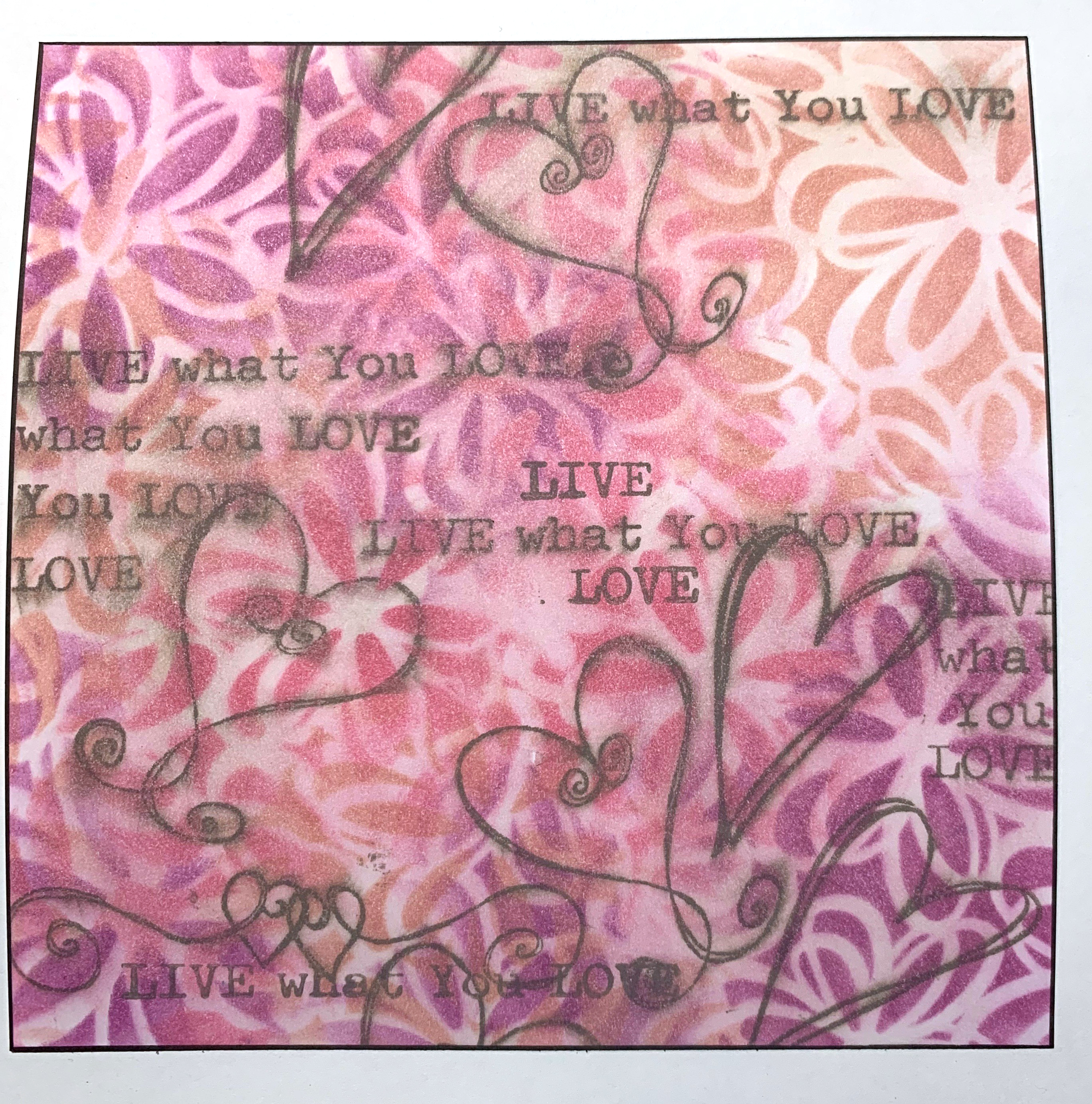 Stenciled background featuring Dare 2B Artz Stencil, stamps and Clearsnap ColorBox ink