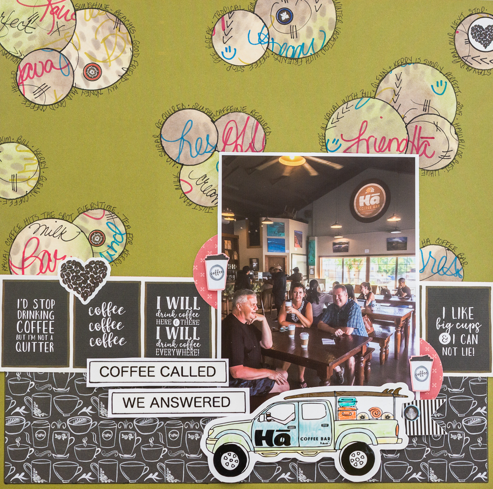 Mixed Media Stickers on a Scrapbook Layout designed by Kim Gowdy featuring Echo Park Paper Co.