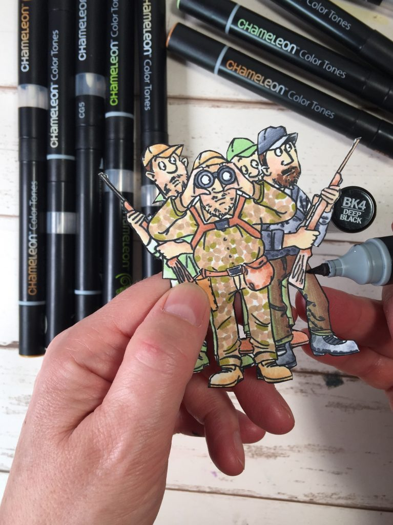 Detail photo of creating camouflage using Chameleon Color Tone Pens