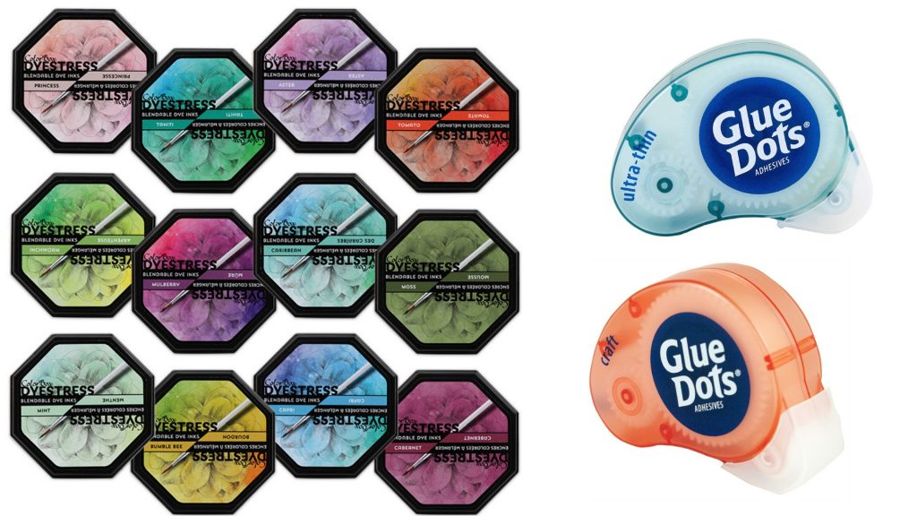 Clearsnap ColorBox Dyestress ink and Glue Dots Adhesives