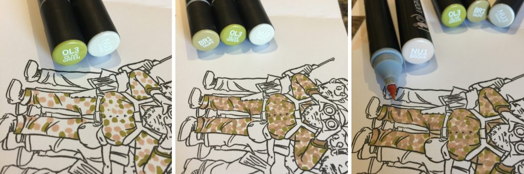 Steps to create camouflage using Chameleon Color Tone Pens