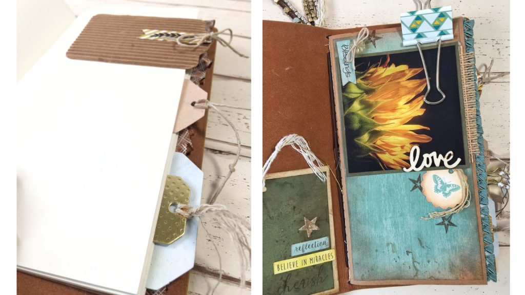 Inside Explorer Journal Scrapbooked by Kerry Engel featuring Momenta
