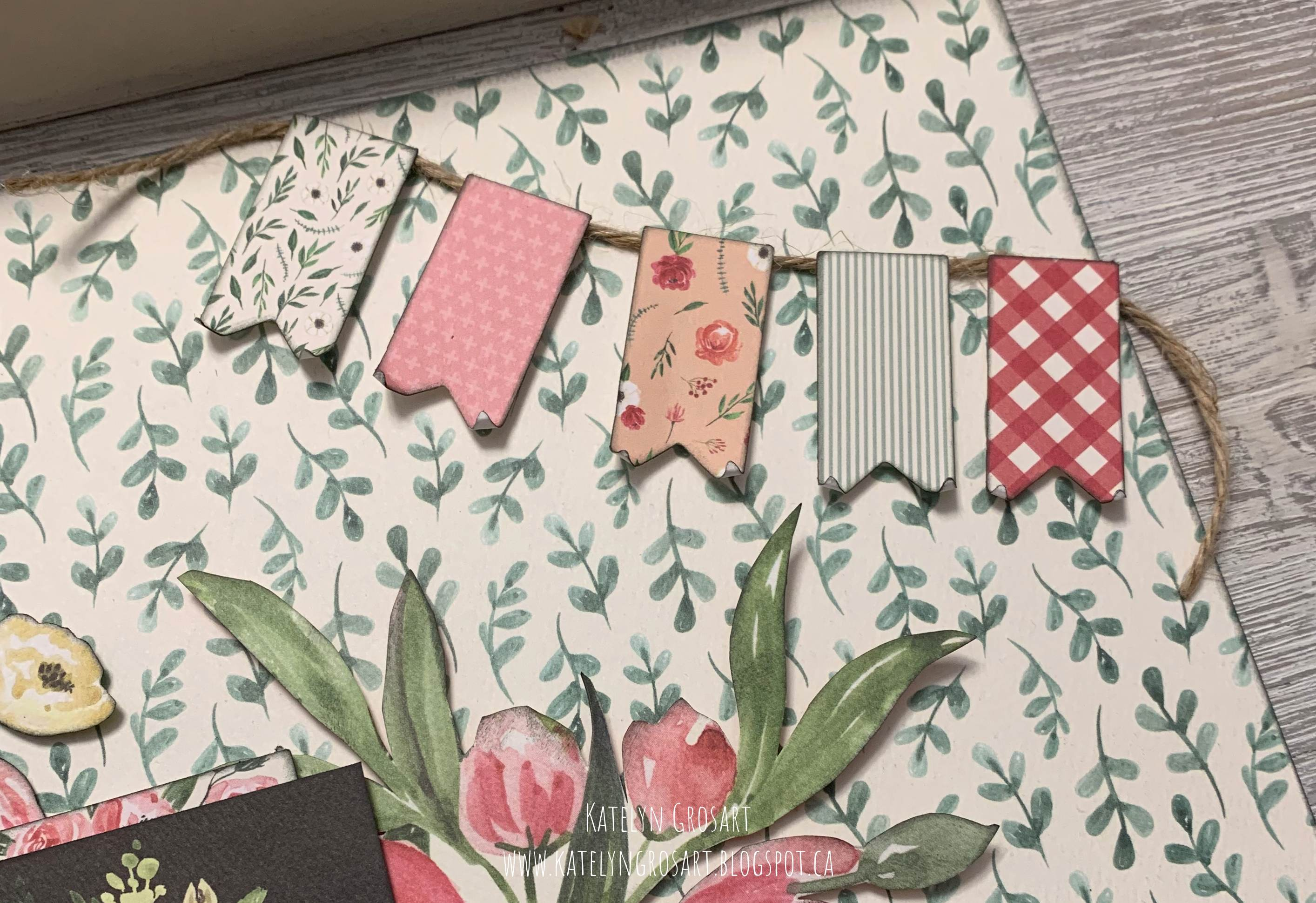 Details of a scrapbook layout featuring the Botanical Garden collection by Carta Bella designed by Katelyn Grosart
