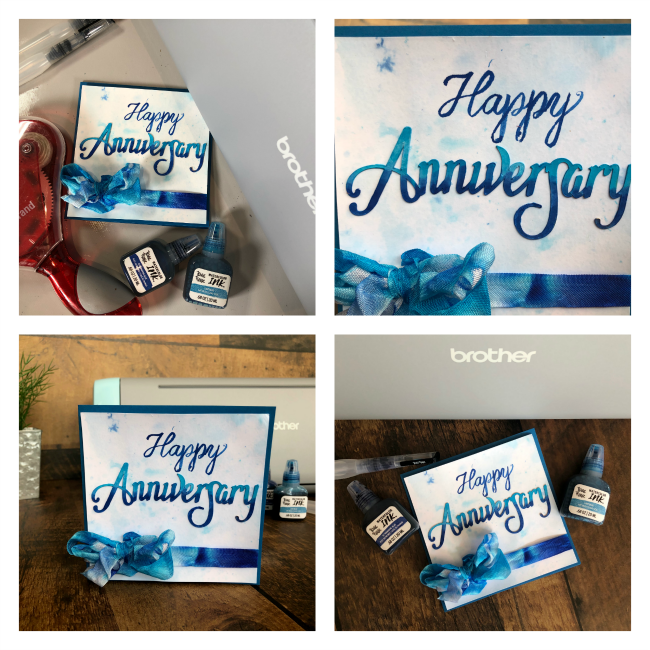 Details of an anniversary card designed with the Brother ScanNCut SDX125 by Nicole Wright