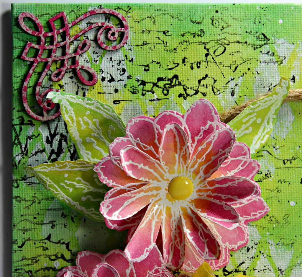 Detail Canvas featuring Clearsnap ColorBox Blends 2 Inks and Blank Page Muse Stamps - Designed by Pam Bray