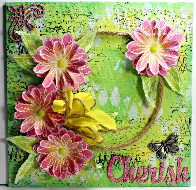 Canvas designed by Pam Bray featuring Clearsnap ColorBox Blends 2 and Blank Page Muse Stamps - Designed by Pam Bray