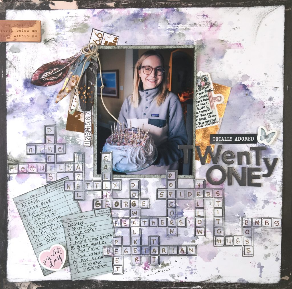 Crossword Puzzle Inspired Scrapbook Layout designed by Kerry Engel featuring Prima Marketing